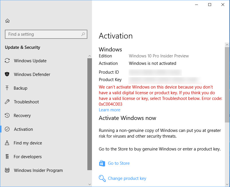 Windows Activation issues