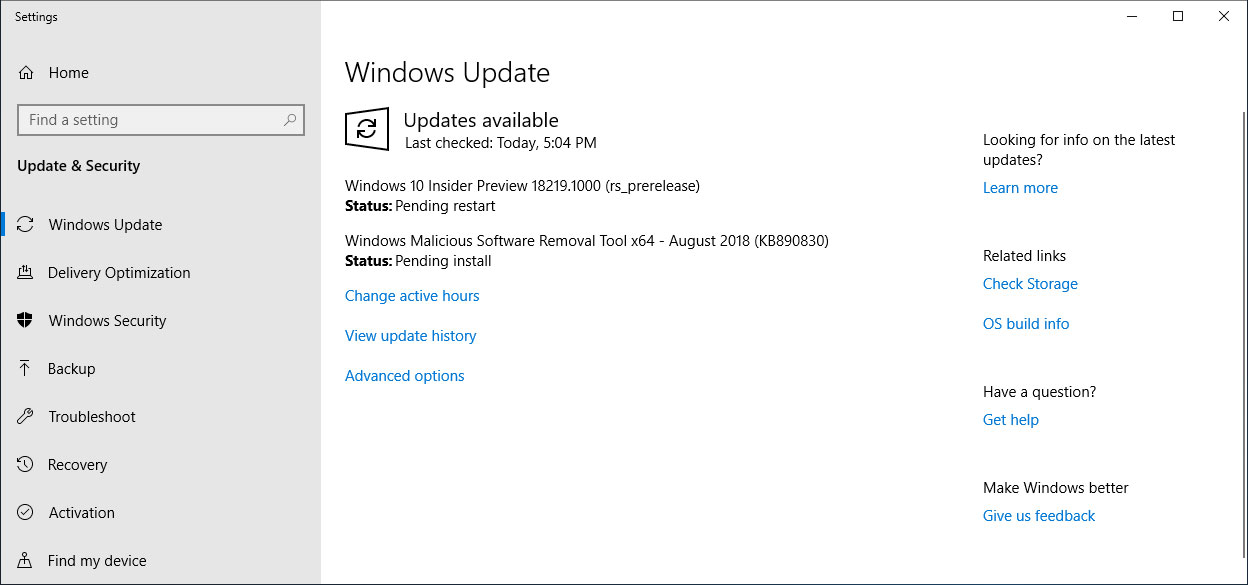 Windows 10 Insider Preview 18219.1000 (rs_prerelease)