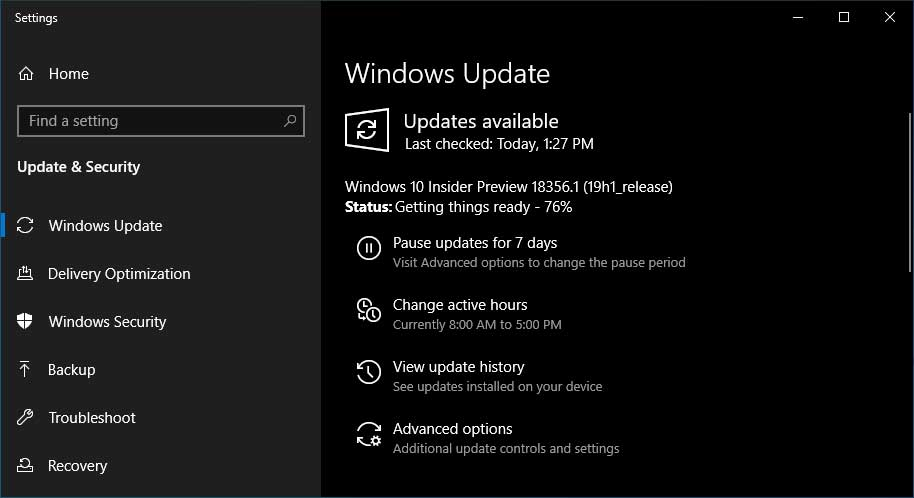 Windows 10 Insider Preview Build 18356 Released Along With Phone