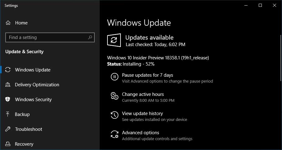 Windows 10 Insider Preview Build 18358 Fixes Poor Game Performance