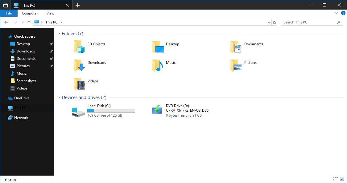 Dark Theme Enabled in File Explorer