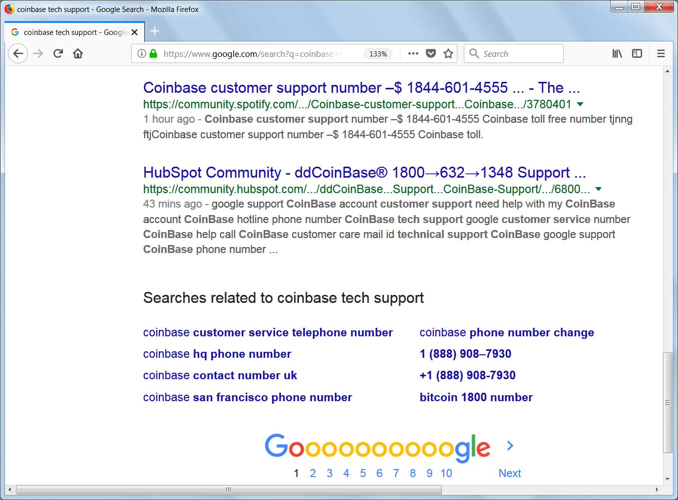 Coinbase Tech Support Numbers in First Page of Google Search Results