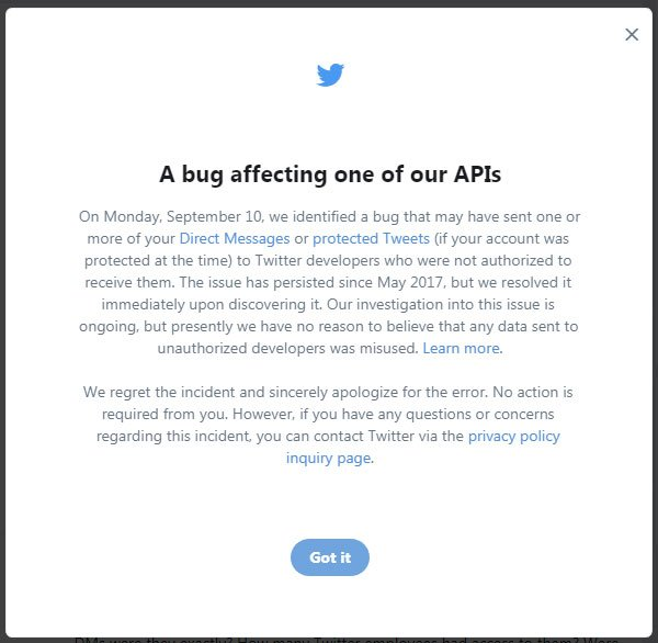 Twitter notifies users about API bug that shared DMs with wrong devs
