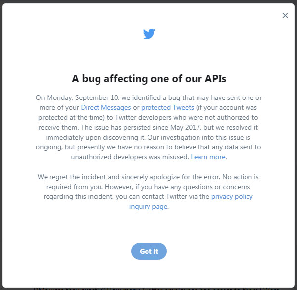 Twitter bug may have sent users' DMs to unknown developers