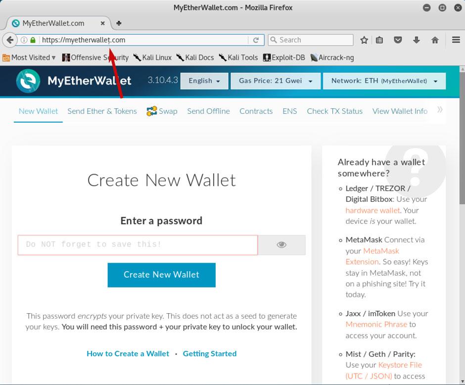 Fake MyEtherWallet Site