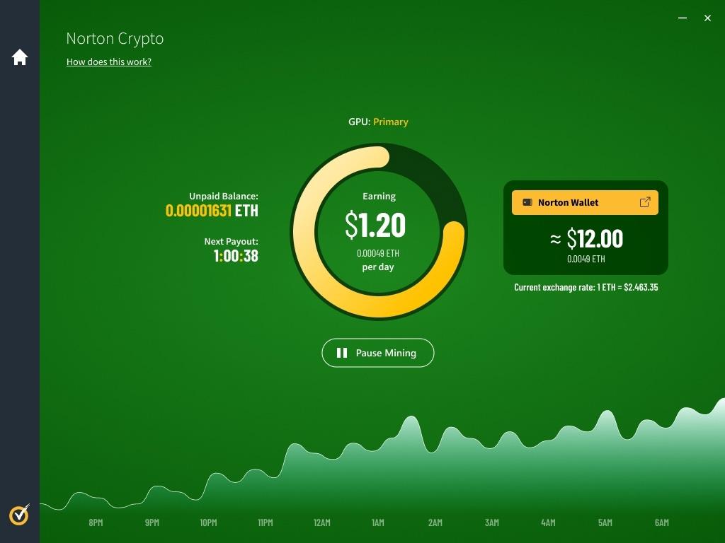 Norton Crypto feature mining for Ethereum