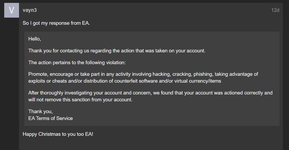 Response to banned users support request