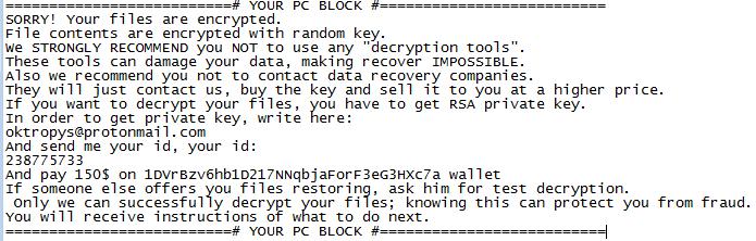 "Aurora Ransom Note Tìm hiểu Trojan AZORult – Công cụ ""thả"" ransomware Aurora – End"