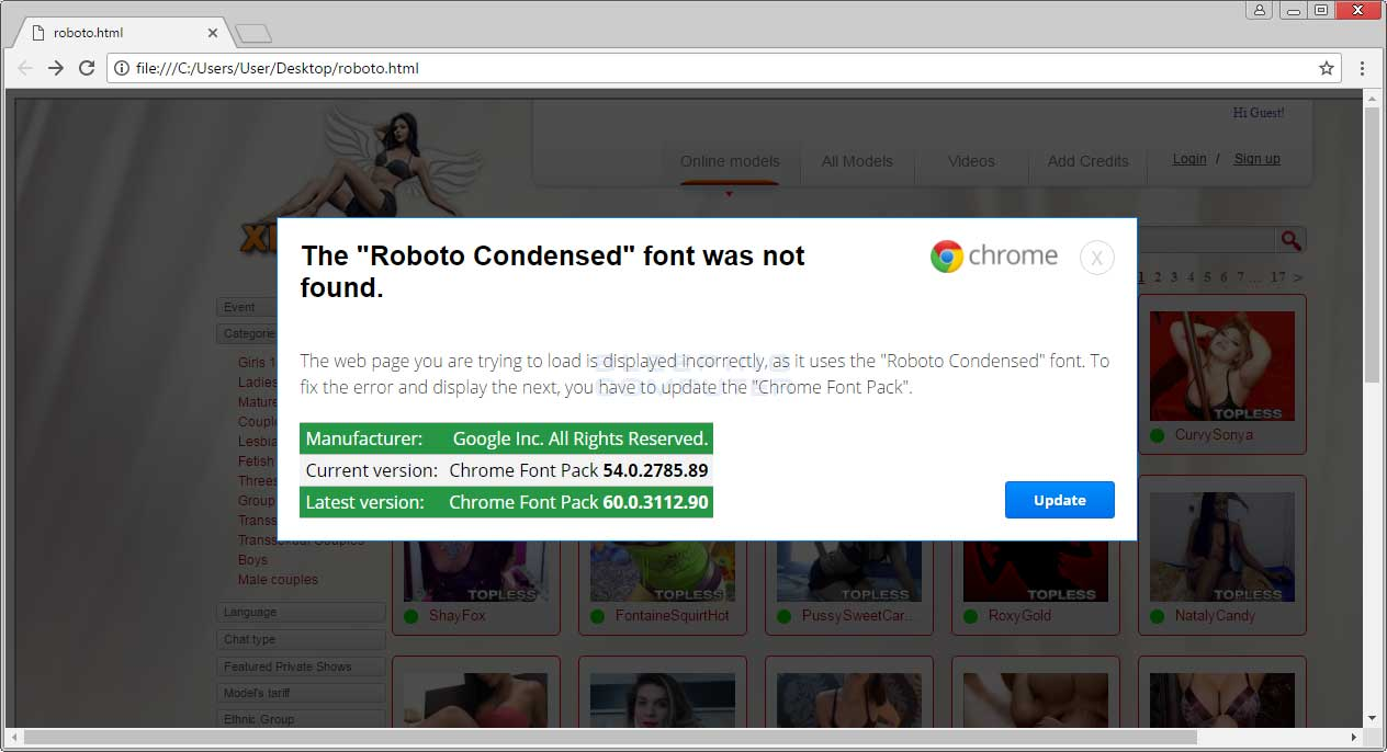Fake Chrome Update Alert