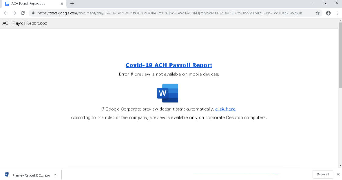 BazarLoader: Fake Google docs hosted attachment
