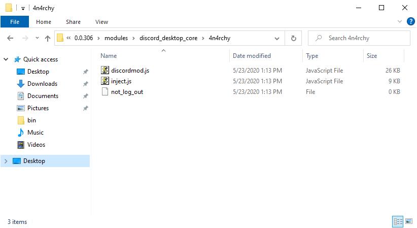 Fichiers JavaScript malveillants dans le dossier 4n4rchy
