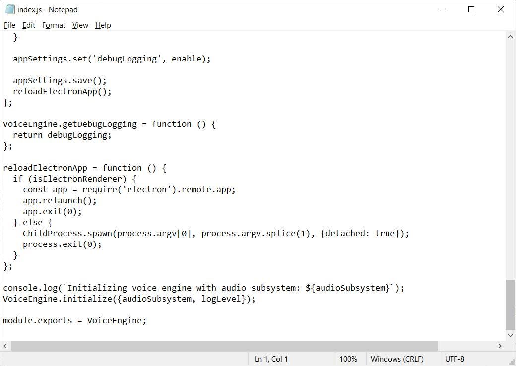 Fichier JS d'origine