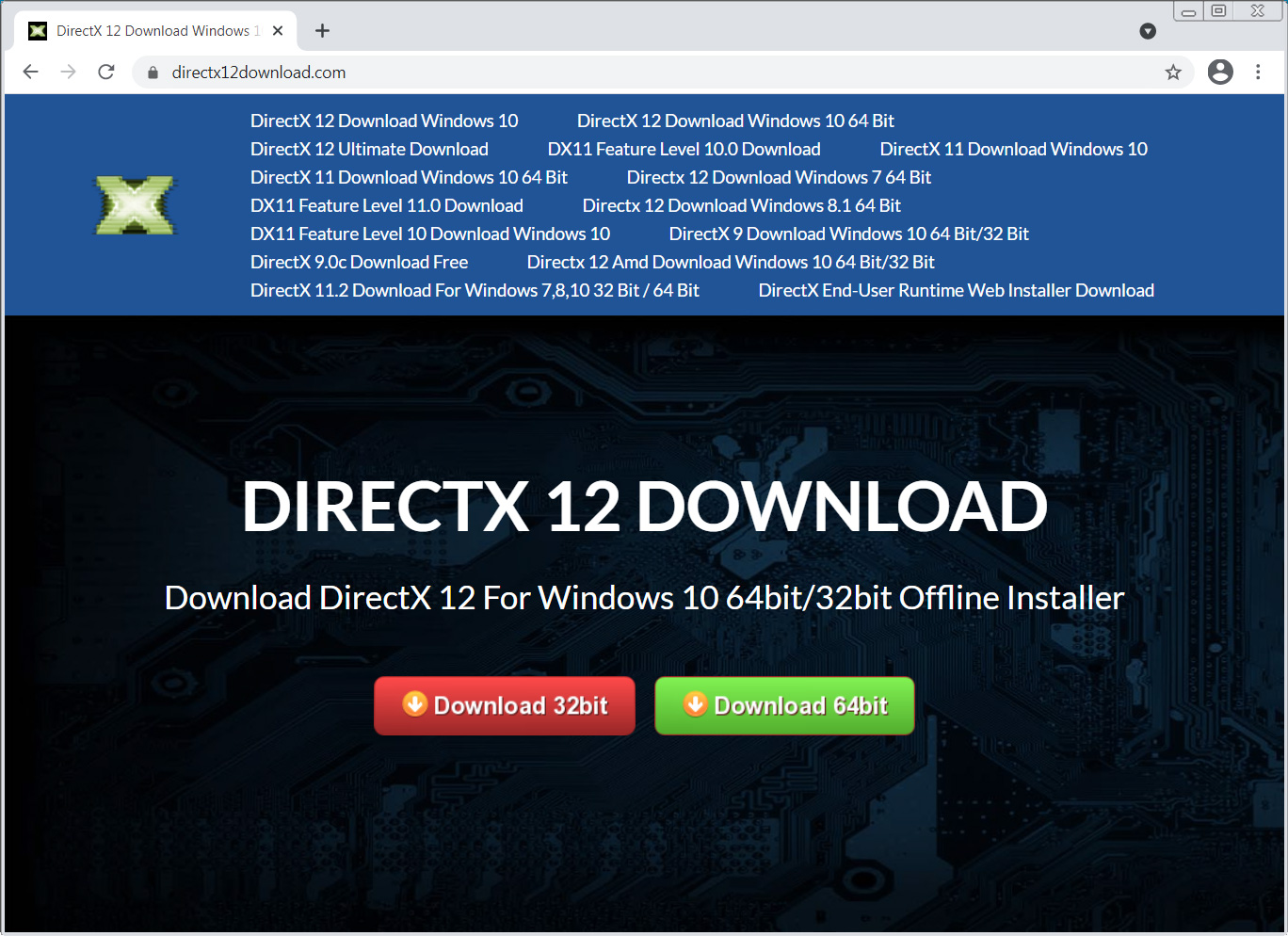 Fake Microsoft DirectX 12 download page