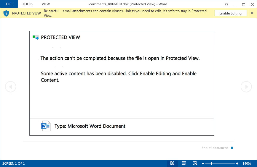 Protected View Template