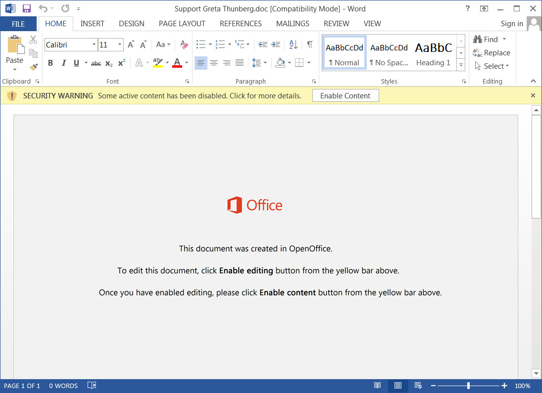 Malicious Word Document Attachment