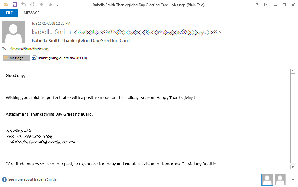 Thanksgiving Day Greeting Card malspam