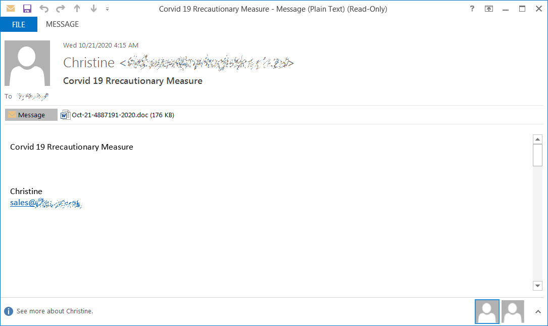 Example Emotet spam email