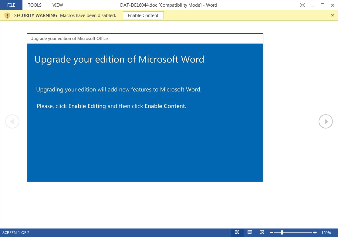 New Upgrade Microsoft Word Emotet attachment