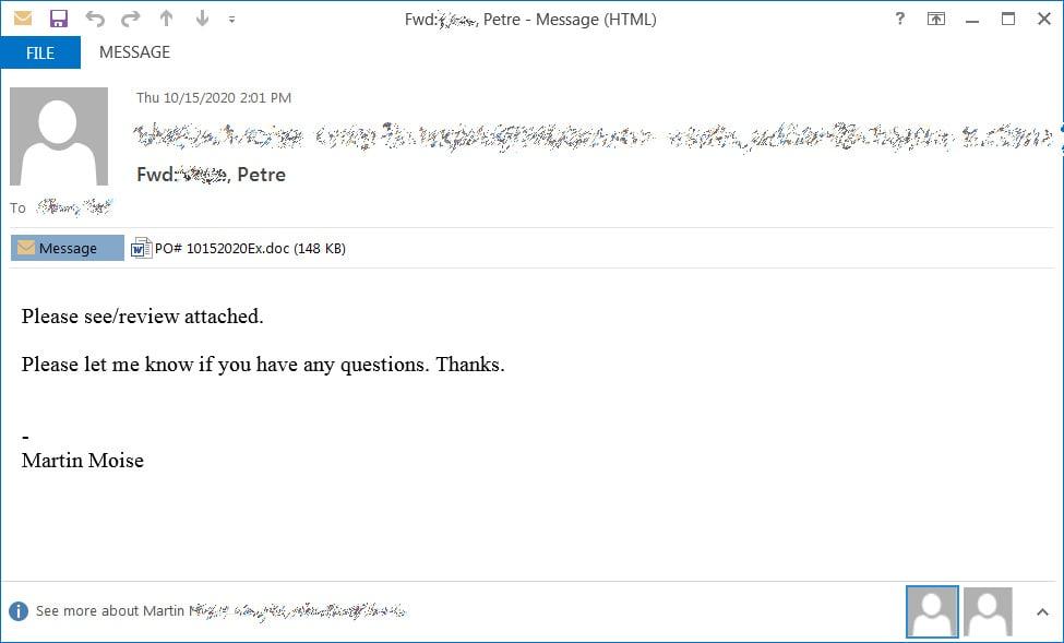 Emotet垃圾邮件示例