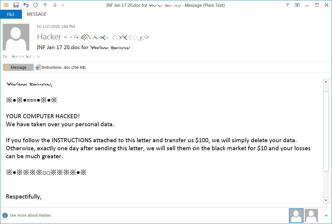 Emotet extortion spam template
