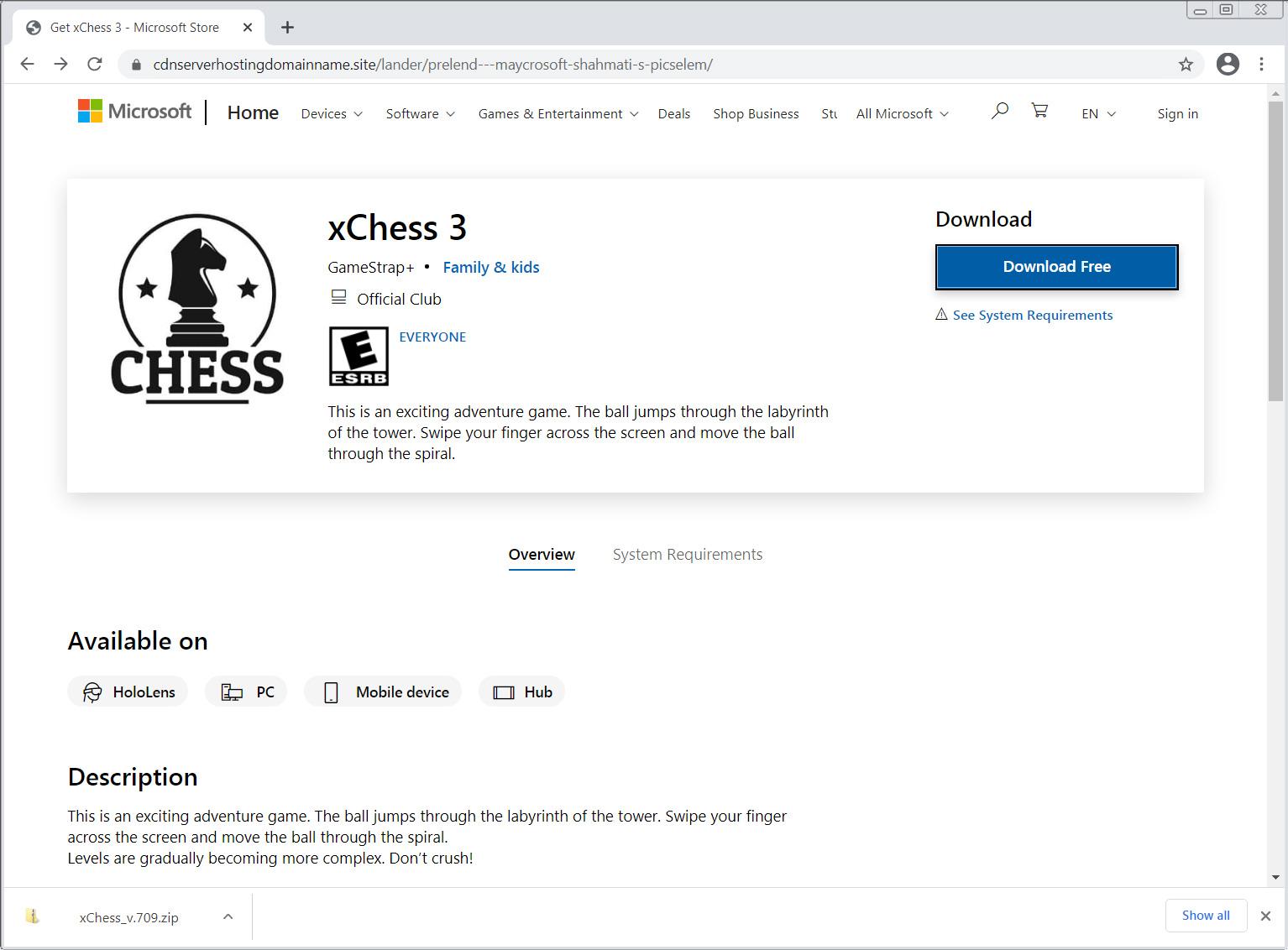 散布Ficker恶意软件的假Microsoft Store页面