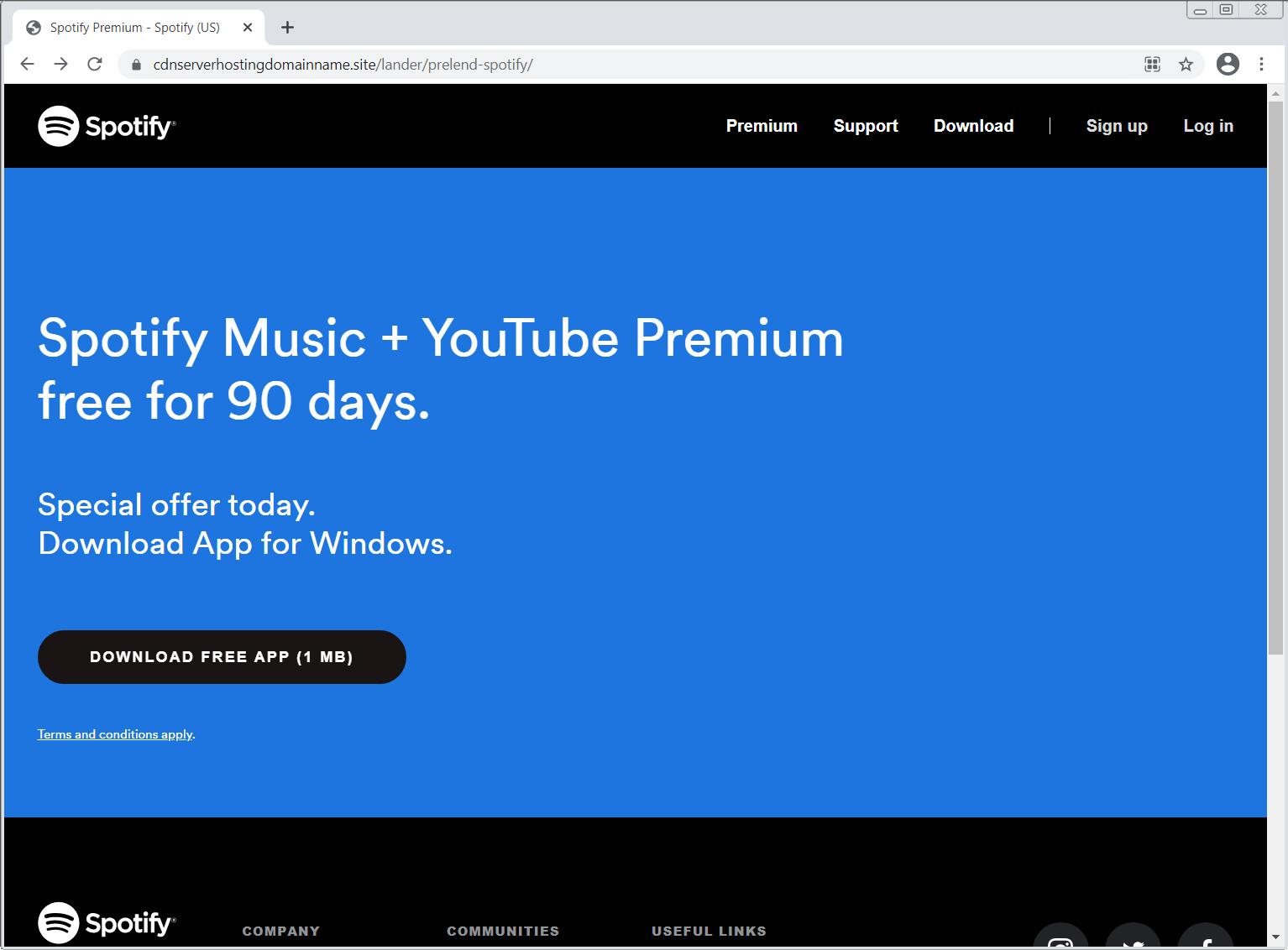 伪造的Spotify登陆页面