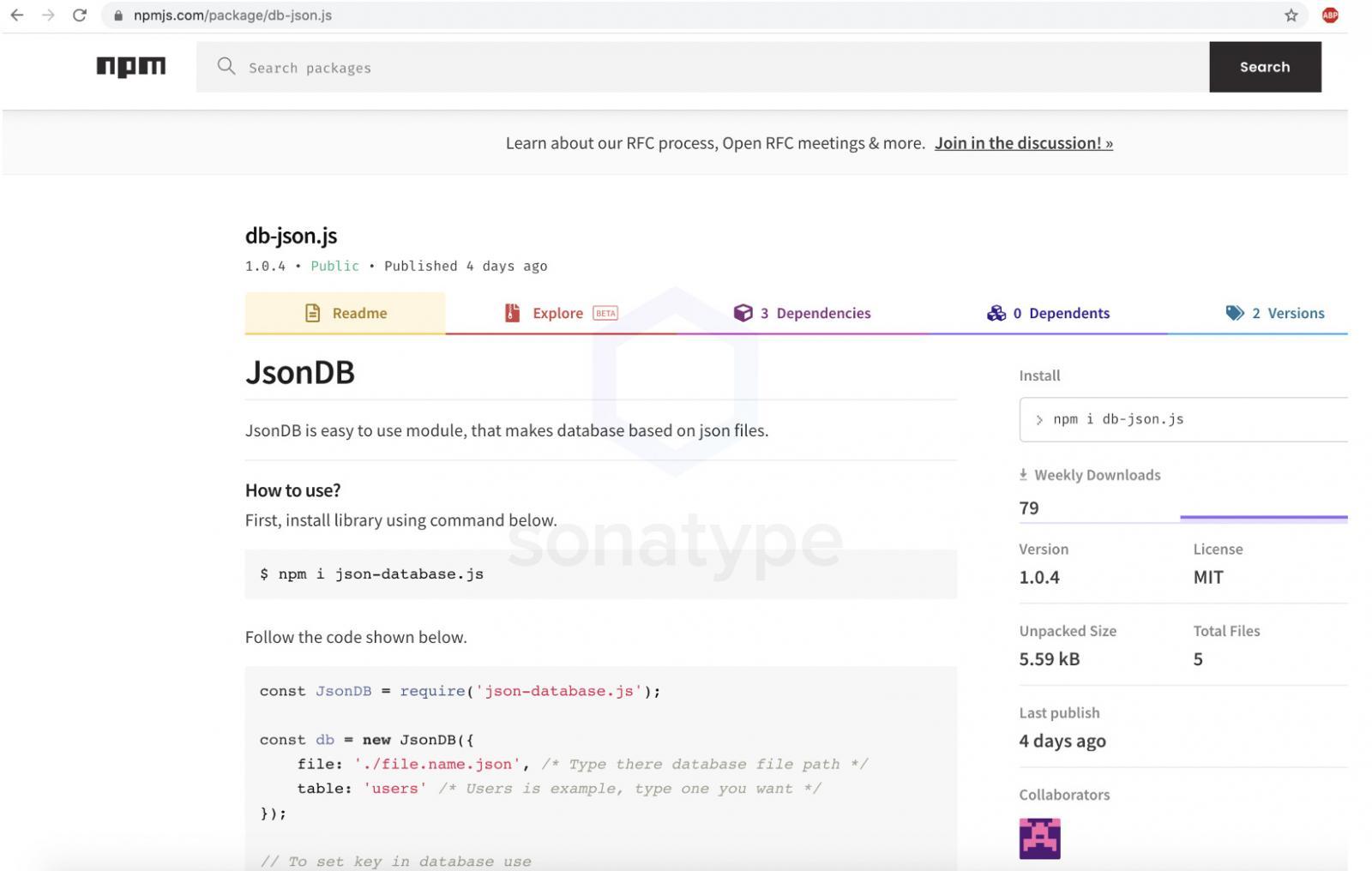 NPM上的JsonDB(db-json.js)软件包