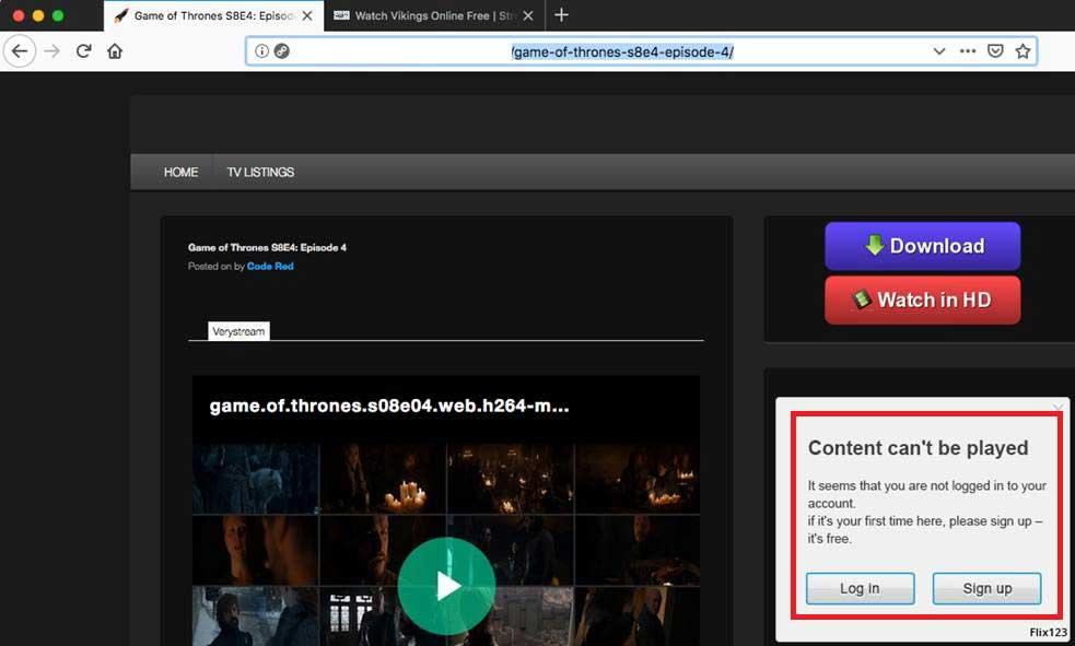 Fake web site promoting the Shlayer Trojan