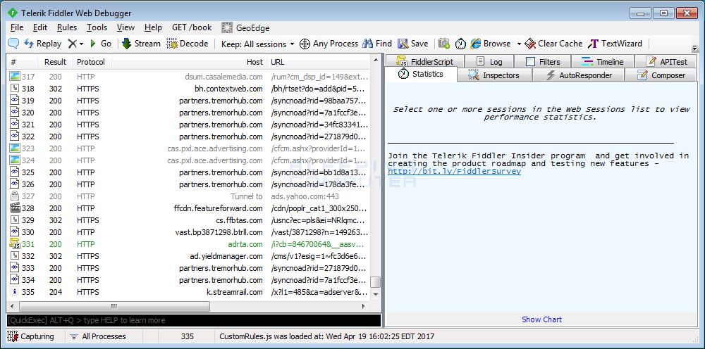 Web Requests shown in Fiddler