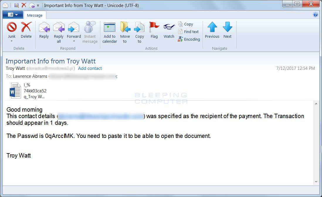 SPAM Email from Troy
