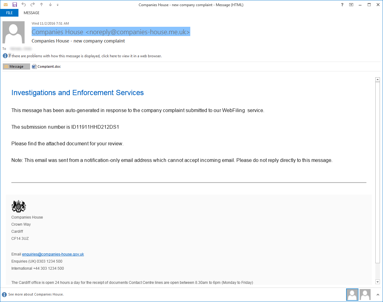 New TrickBot campaign Spamming Malicious Complaint doc