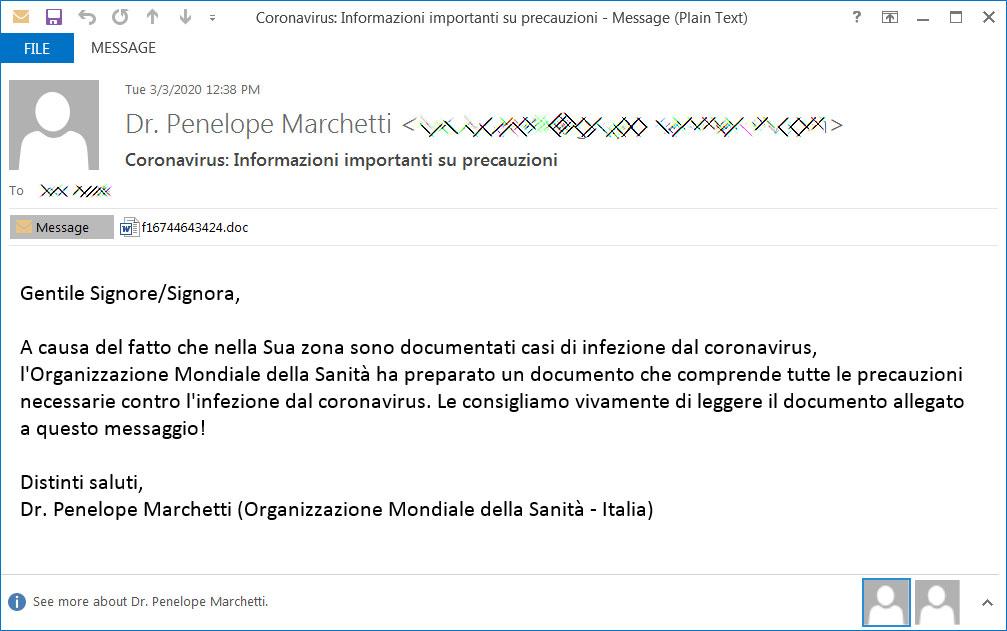 Malicious Spam about Coronavirus