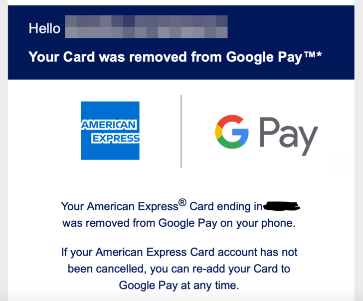 Google Pay email about the removal of American Express card
