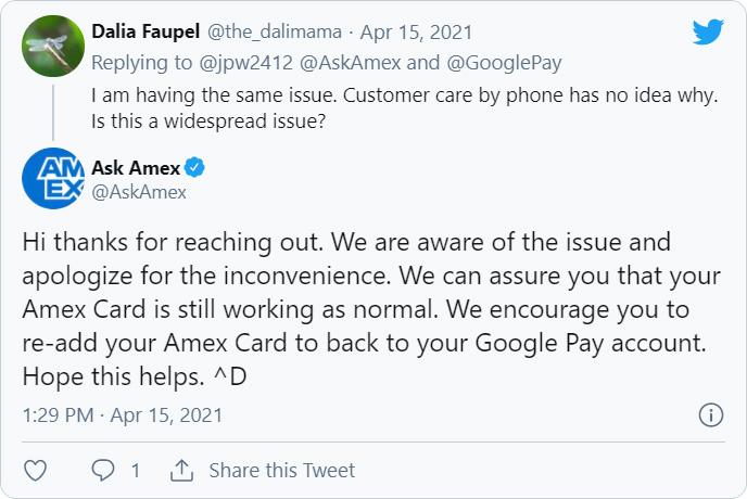 Tweet from Amex