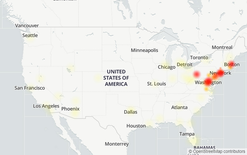Widespread internet outage hits US East Coast