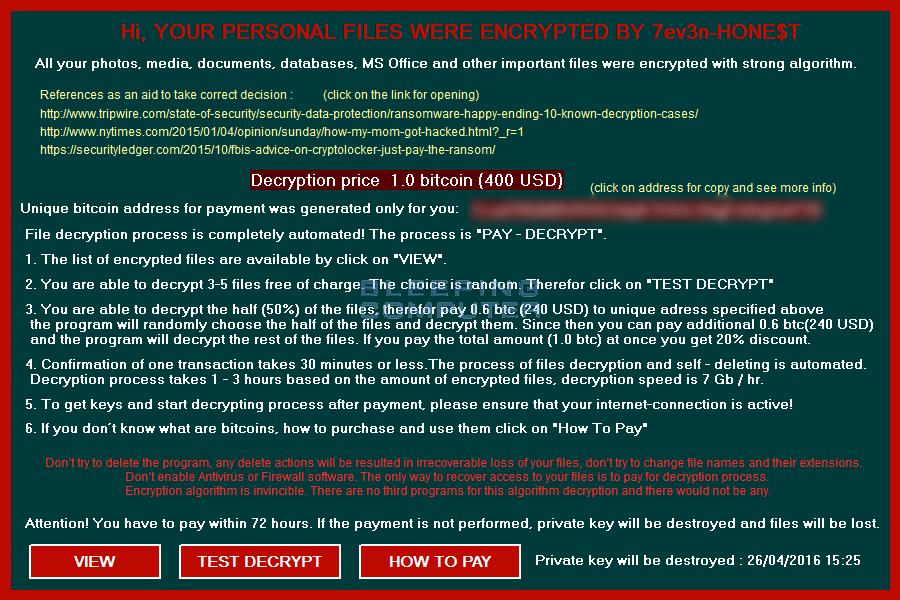 7ev3n-HONE$T Ransomware