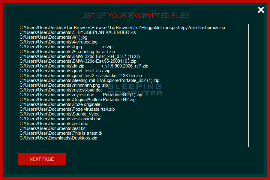 Encrypted files list