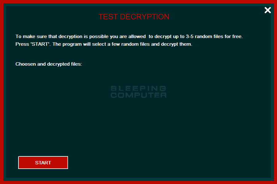 Test Decryption Screen