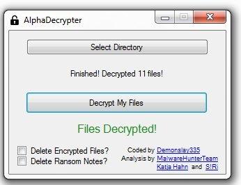 Alpha Ransomware Decryptor