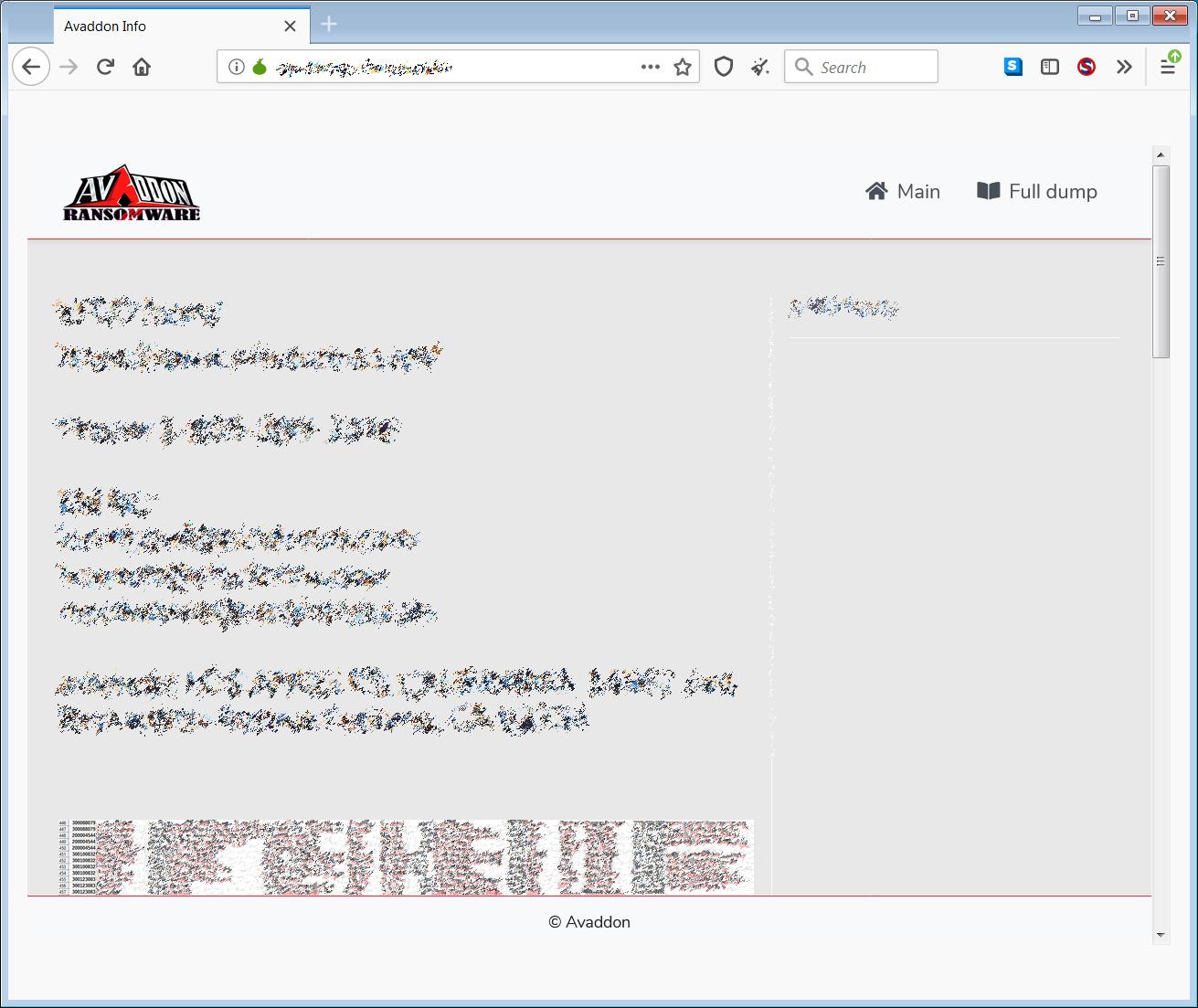 Avaddon ransomware data leak site