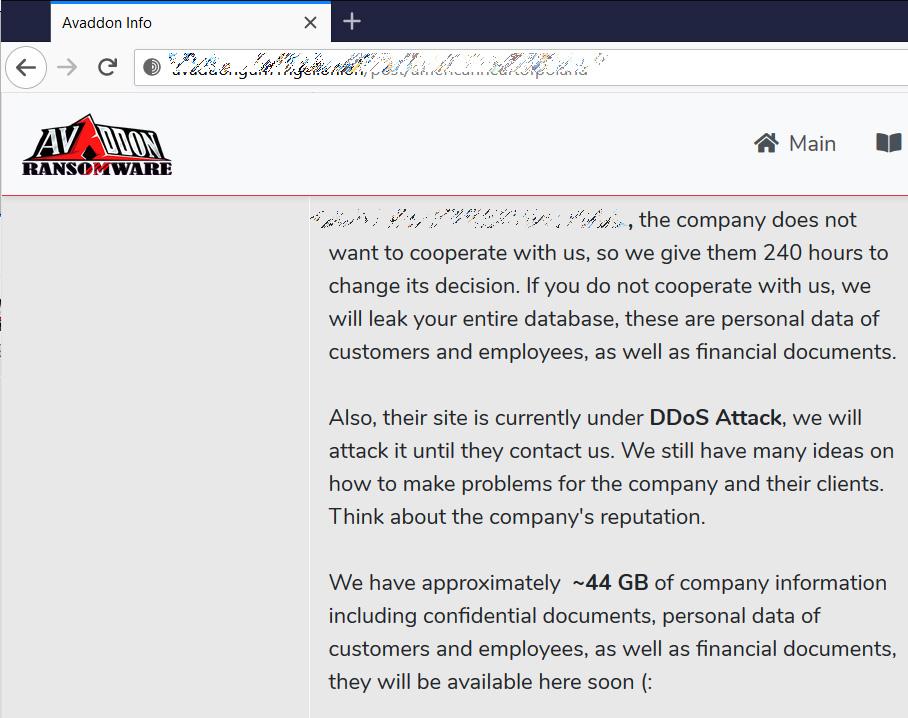 Avaddonのデータ漏えいサイト