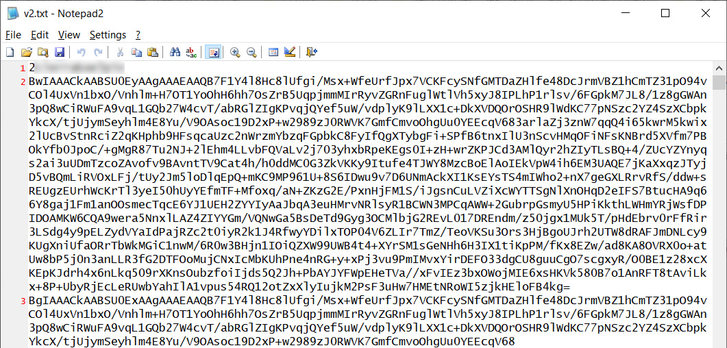 Example base64 encoded keys with identifier redacted