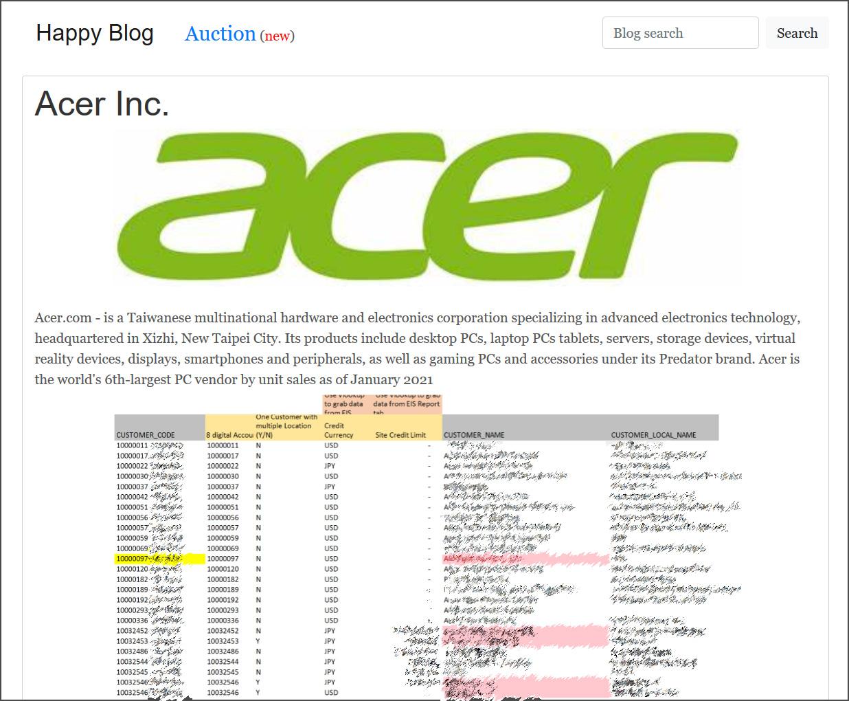 Acer data leak on REvil ransomware site