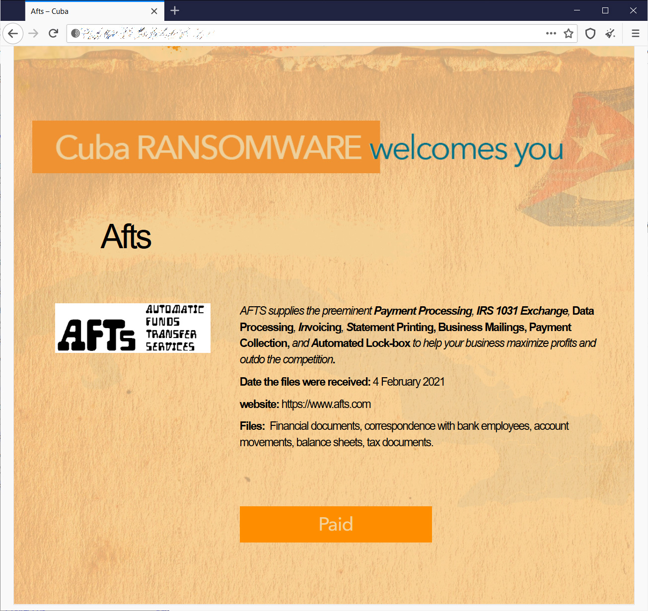 Cuba ransomware data leak page for AFTS