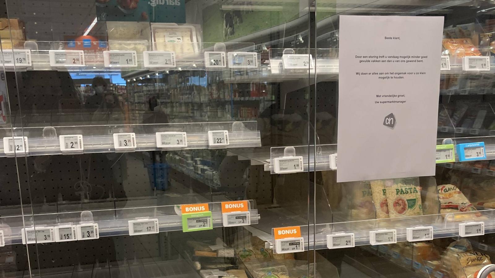 Empty food shelves atAlbert Heijn