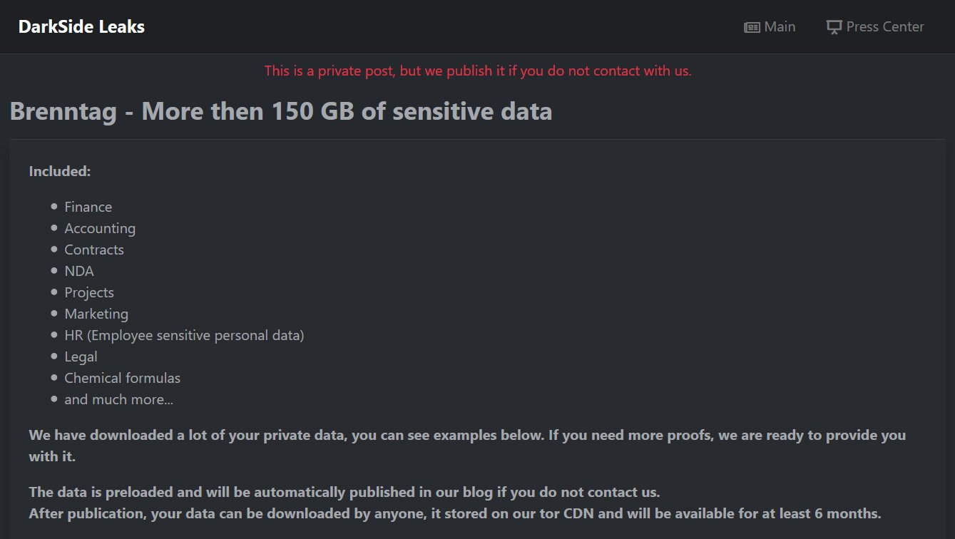 Private data leak page sent to Brenntag