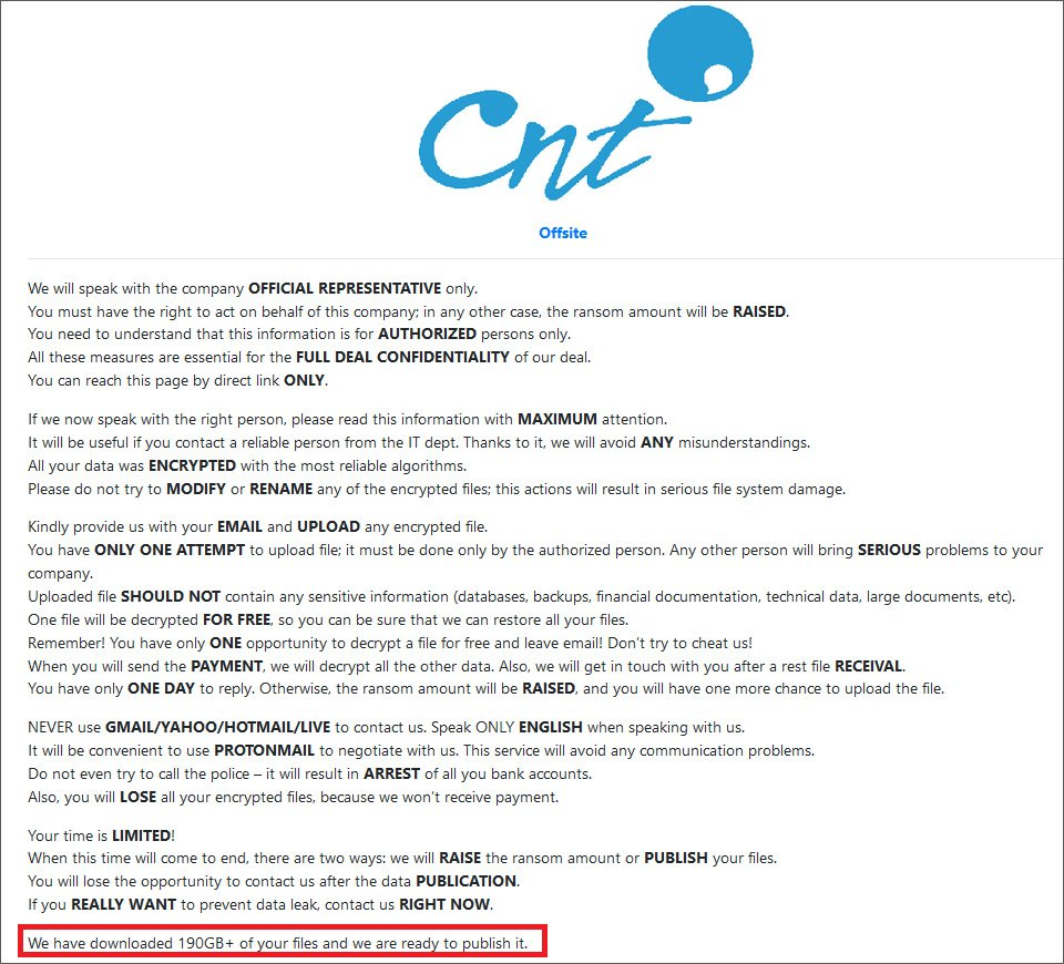 Hidden RansomEXX data leak page for CNT