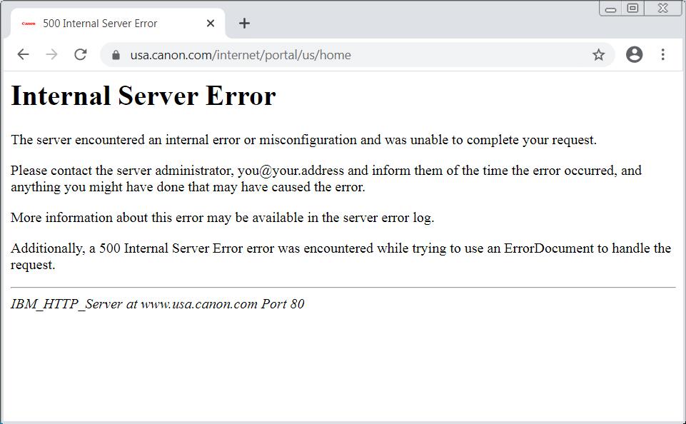 El sitio web de Canon USA está caído