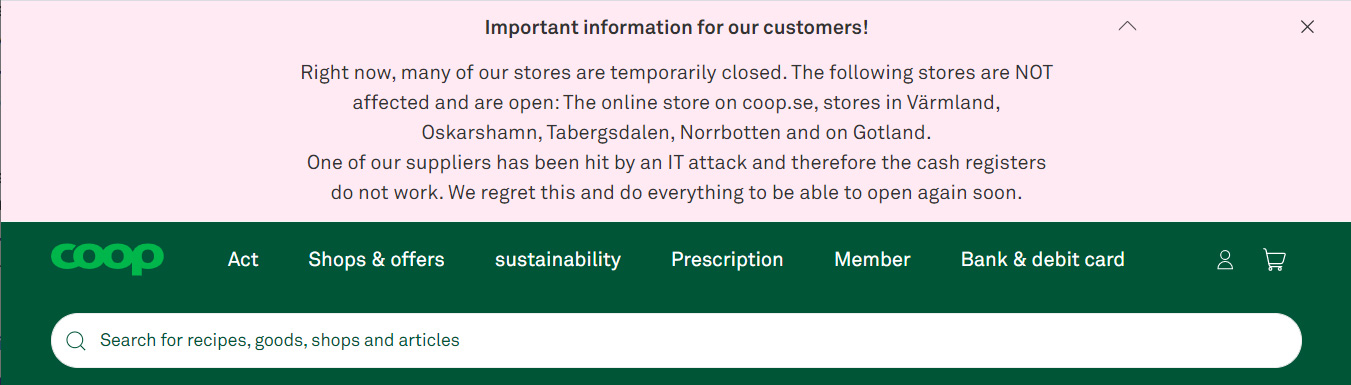 Translated notice posted on Coop's website